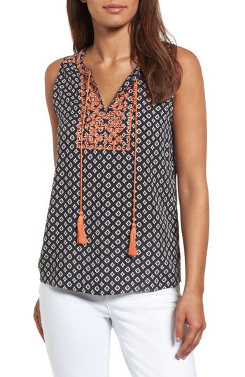 Women's Thml Embroidered Bib Print Top, Size X-Small - Blue