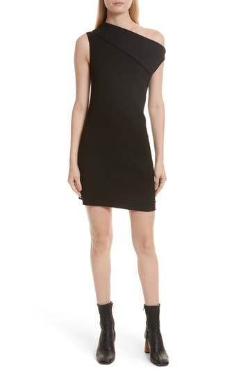 Helmut Lang Asymmetric Wool Blend Scuba Minidress, Black