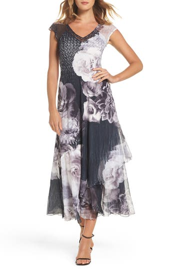 Komarov Floral V-Neck A-Line Dress, Black