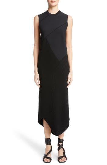 Proenza Schouler Asymmetrical Spiral Knit Dress, Black