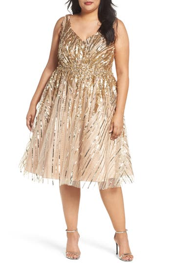 Plus Size MAC Duggal Sequin Fit & Flare Dress, Metallic