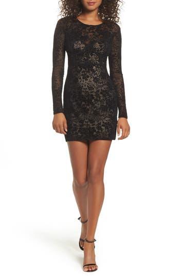 Lulus Cor-Set To Go Burnout Velvet Minidress, Black