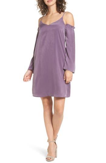 Everly Satin Cold Shoulder Dress, Purple
