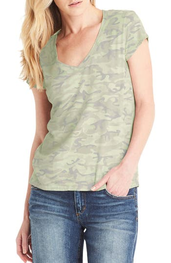 Michael Stars V-Neck Tee, Size One Size - Green