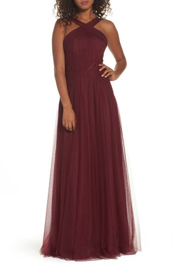 Hayley Paige Occasions High Neck Pleated English Net Gown, Burgundy