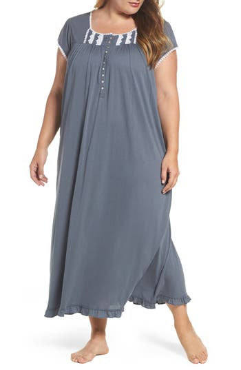 Plus Size Women's Eileen West Cotton & Modal Long Nightgown, Size 3X - Grey