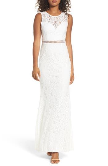 Lulus Music Of The Heart Lace Maxi Dress, White