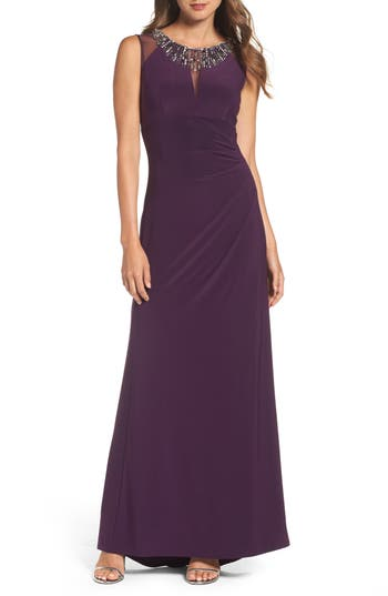 Vince Camuto Embellished Gown, Purple
