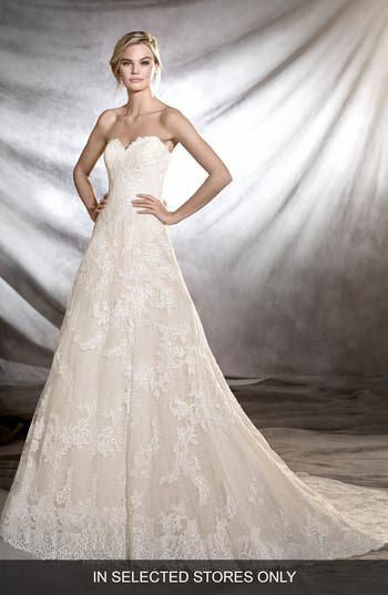 Pronovias Onia Strapless Lace Gown