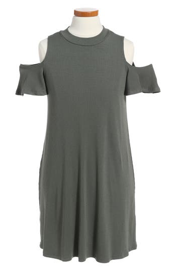 Girl's Soprano Cold Shoulder Mock Neck Dress, Size S (8-10) - Green