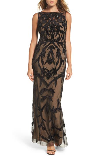 Adrianna Papell Beaded Mesh Gown, Black