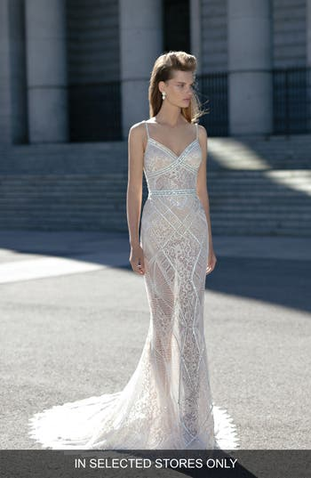 Berta Beaded Sheer Lace Column Dress