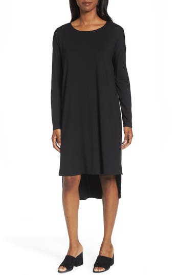 Eileen Fisher High/low Jersey Shift Dress, Black