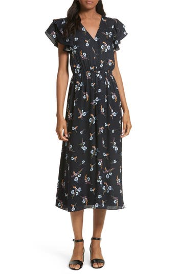 Rebecca Taylor Natalie Fleur Silk Midi Dress, Blue