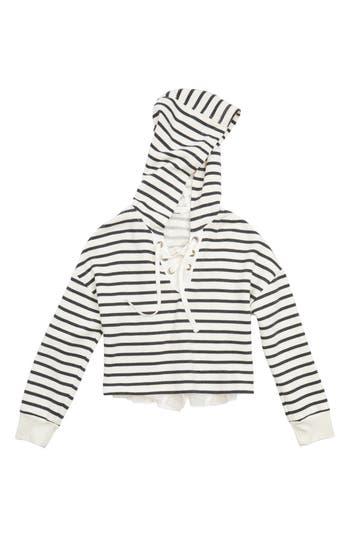 Girl's Maddie Stripe Crop Hooded Sweatshirt With Back Ruffle