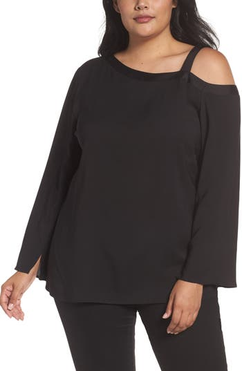 Plus Size Women's Sejour One-Shoulder Bell Sleeve Top, Size 14W - Black