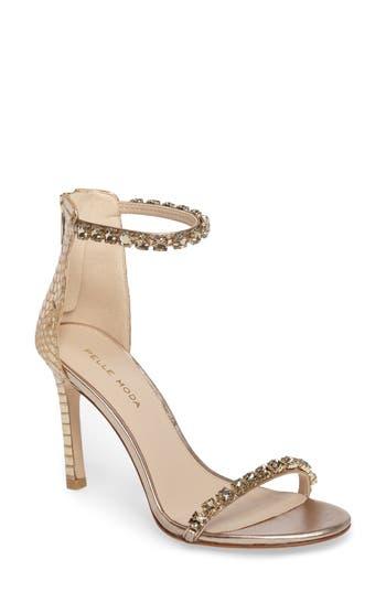 Women's Pelle Moda Frisk Embellished Sandal, Size 8.5 M - Metallic