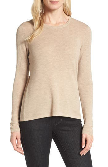 Eileen Fisher Slim Merino Wool Sweater, Beige