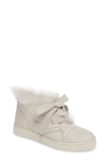 Pedro Garcia Parley Genuine Shearling & Leather Sneaker, White