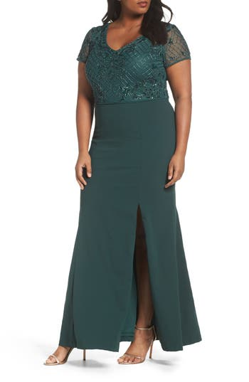 Plus Size Adrianna Papell Beaded Crepe Gown, Green