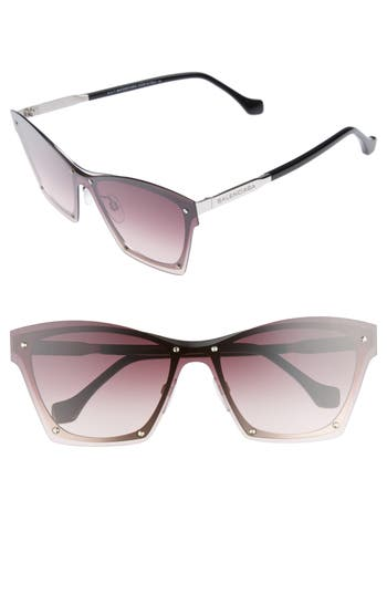 Balenciaga 55Mm Frameless Sunglasses - Palladium Blk/ Grdent Bordeaux