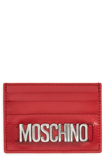 Women's Moschino Letters Card Case - Red