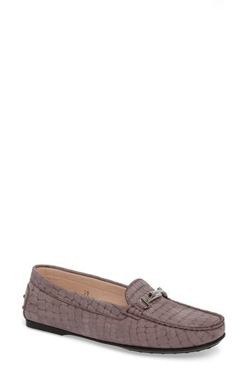 Tods Croc Embossed Double T Loafer, Purple