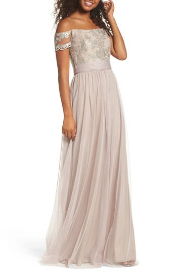 Amsale Ireland Embellished Off The Shoulder Gown, Beige