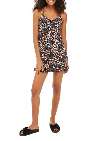 Topshop Dot Floral Strappy Minidress, US (fits like 6-8) - Black