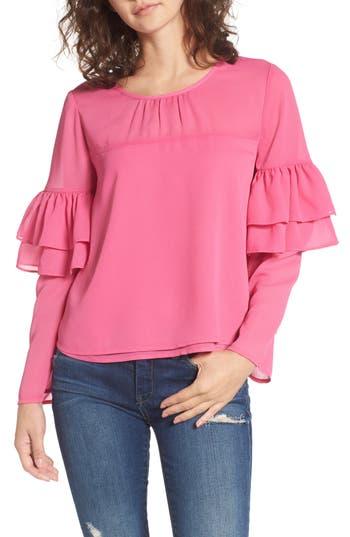 Women's Bp. Double Ruffle Blouse, Size XX-Small - Pink