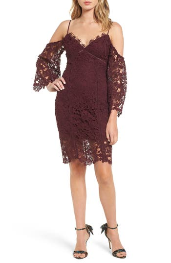 Astr The Label Giselle Cold Shoulder Lace Dress, Burgundy