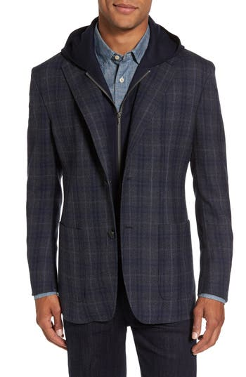 Cardinal Of Canada Classic Fit Hooded Sport Coat, Grey