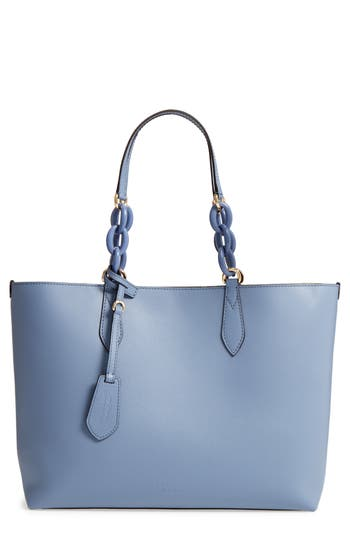 Burberry Medium Reversible Haymarket Check & Leather Tote - Blue