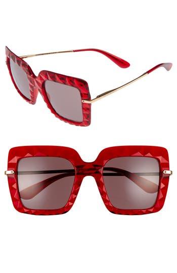 Women's Dolce & gabbana 51Mm Square Faceted Sunglasses - Bordeaux