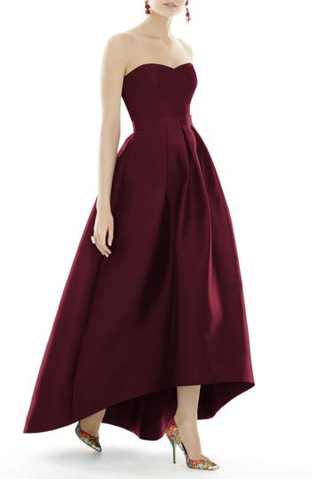 Women's Alfred Sung Strapless High/low Sateen Twill Gown, Size 6 - Red