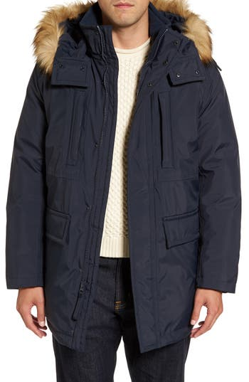 Marc New York Down Jacket With Faux Fur Trim, Blue