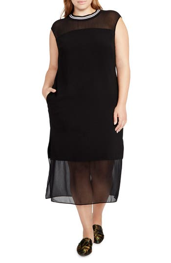 Plus Size Rachel Rachel Roy Rib Neck Shift Dress, Black