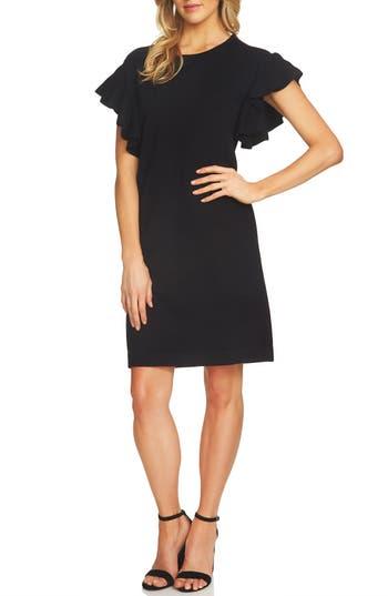 Cece Ruffle Sleeve Sweater Dress, Black