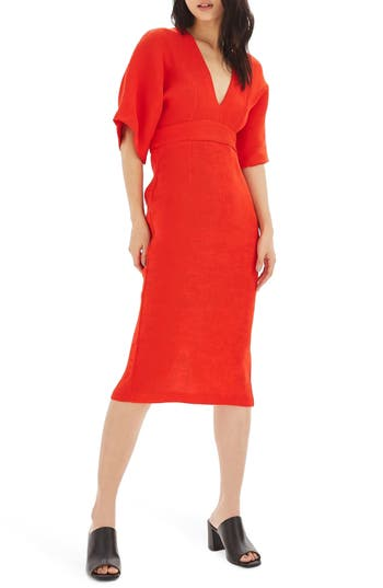 Topshop Textured Plunge Midi Dress, US (fits like 0) - Red