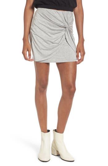 Lush Knot Front Miniskirt, Grey