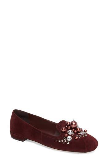 Women's Miu Miu Embellished Loafer, Size 6US / 36EU - Burgundy