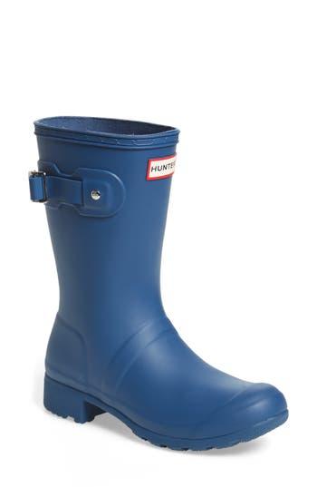 Hunter Original Tour Short Packable Rain Boot, Blue