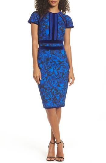 Tadashi Shoji Rose Print Sheath Dress, Blue