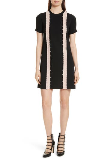 Red Valentino Scallop Stretch Knit Dress, Black