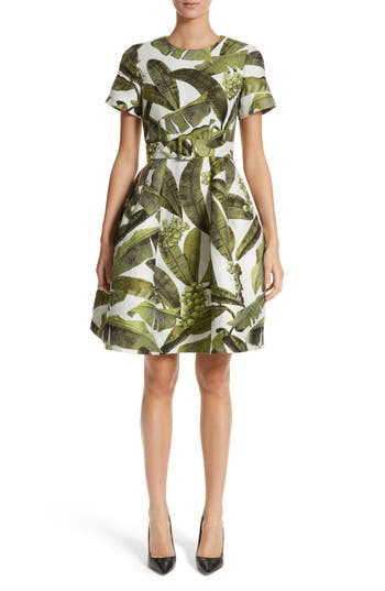 Oscar De La Renta Leaf Jacquard Dress, Green