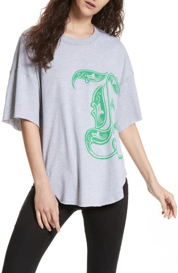 Free People Letter Graphic Tee, Green