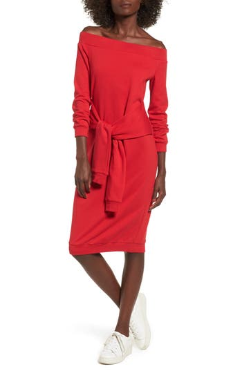 Women's Soprano Tie Front Off The Shoulder Sweatshirt Dress, Size X-Small - Red