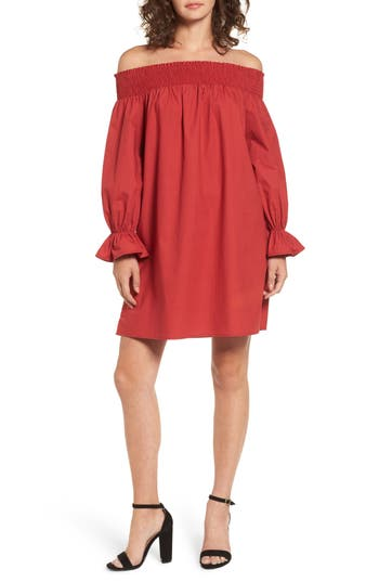 Women's Soprano Off The Shoulder Shift Dress, Size X-Small - Red