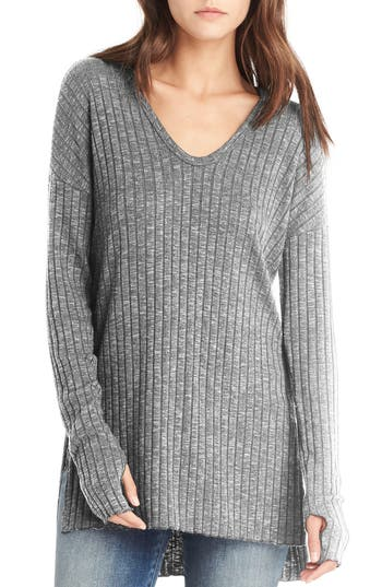 Michael Stars Side Slit Ribbed Tunic, Size One Size - Grey