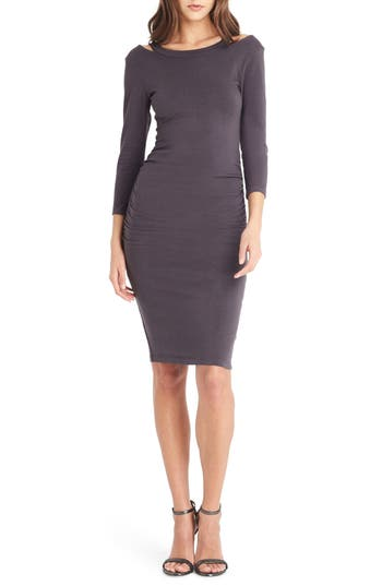 Michael Stars Strap Back Body-Con Dress, Grey